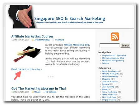 Singapore SEO Blog Homepage