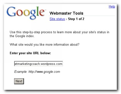 Google Webmaster Site Status Wizard