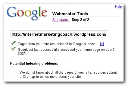 Google Webmaster Site Status Result