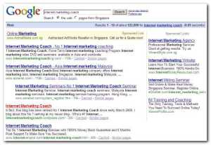 Internet Marketing Coach Google SERP