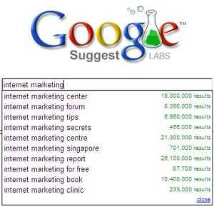 Google Suggest - internet marketing