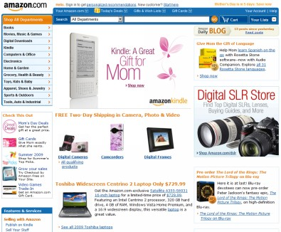 Good web design - Amazon.com home page